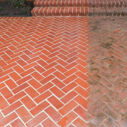 before and after of brick patio and steps that have been pressure washed